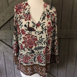 Lucky Brand Bohemian Floral Peasant Poet Blouse